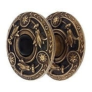 Lily Cabinet Knob Inset with Black Onyx and Rosette  - 1 1/4