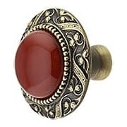 Victorian Cabinet Knob Inset with Red Carnelian - 1 5/16
