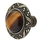 Victorian Cabinet Knob Inset with Tiger Eye - 1 5/16