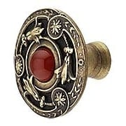 Jeweled Lily Cabinet Knob Inset with Red Carnelian - 1 3/8