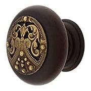 Hardwood Knob With Regal Crest Onlay - 1 1/2