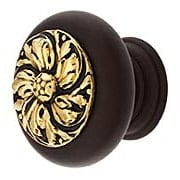 "Hardwood Knob with Chrysanthemum Onlay - 1 1/2"" Diameter (item #RS-08NH-NHW-714X)"