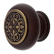 Hardwood Knob with Fleur De Lis Onlay -  1 1/2