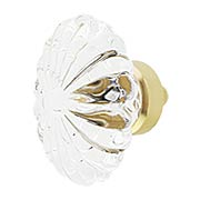 Oval Fluted Lead-Free Crystal Cabinet Knob - 1 3/4