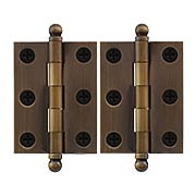Pair of Premium Solid Brass Cabinet Hinges - 2 x 1 1/2-Inch in Antique-By-Hand (item #RS-08VM-60-2015-ABH)
