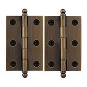 Pair of Premium Solid Brass Cabinet Hinges - 2 1/2 x 1 3/4-Inch in Antique-By-Hand (item #RS-08VM-60-2517-ABH)
