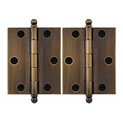Pair of Premium Solid Brass Cabinet Hinges - 2 1/2 x 2-Inch in Antique-By-Hand (item #RS-08VM-60-2520-ABH)