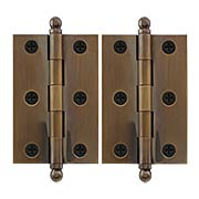 Pair of Premium Solid Brass Cabinet Hinges - 3 x 2-Inch in Antique-By-Hand (item #RS-08VM-60-3020-ABH)