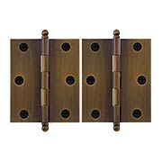Pair of Premium Solid Brass Cabinet Hinges - 3 x 2 1/2-Inch in Antique-By-Hand (item #RS-08VM-60-3025-ABH)