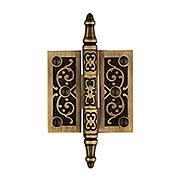 2 1/2-Inch Solid Brass Steeple Tip Hinge With Decorative Vine Pattern in Antique-By-Hand (item #W-04HH-050-ABH)