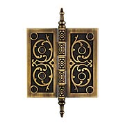 5-Inch Solid Brass Steeple Tip Hinge With Decorative Vine Pattern in Antique-By-Hand (item #W-04HH-500-ABH)