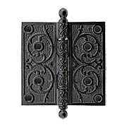 Black Iron Ball-Tip Hinge with Decorative Vine Pattern - 5